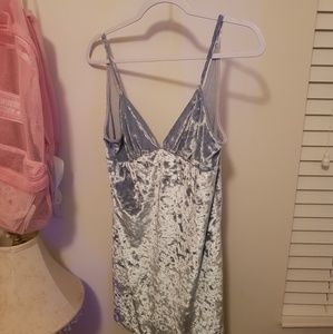 Forever 21 Light Blue Crushed Velvet Dress